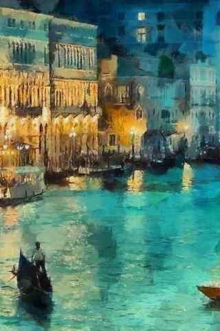 水上城市油画手机