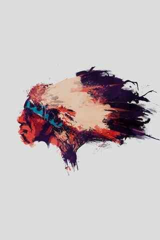 手绘印第安人头像手机壁纸图片