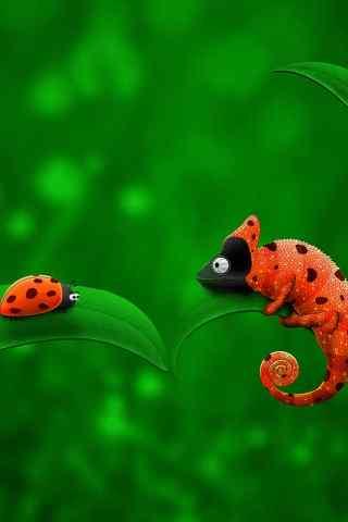 變色龍和七星瓢蟲的可愛手機圖片