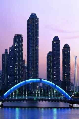 海邊的高層建筑繁華夜景手機壁紙