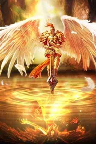 带着双白色翅膀拿把剑的英雄联盟人物手机壁纸