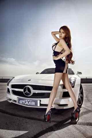 奔馳(chi)美女(nv)車模誘惑(huo)手機壁紙