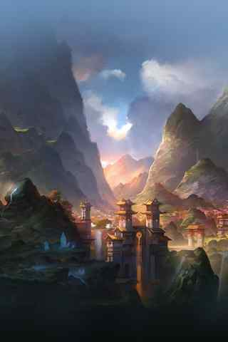 唯美的彩绘游戏场景高清手机桌面背景
