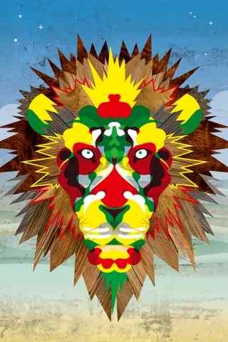 印第安风炫彩狮子头手机壁纸