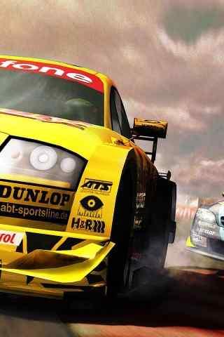 赛车场上的黄色赛车高清手机壁纸