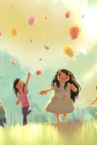 卡通气球和小女孩