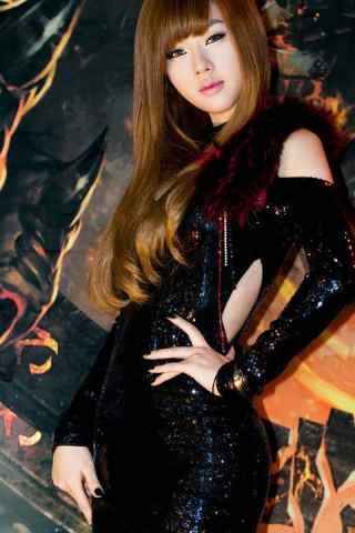 韩国美女车模黄美姬黑色酷炫壁纸