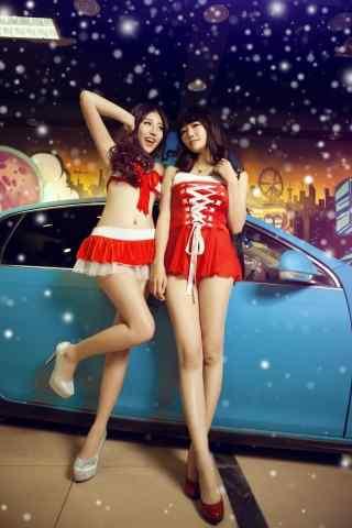 圣诞装美女车模高