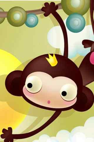卡通小猴子电脑壁