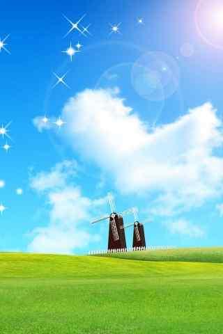 草地上的风车手机