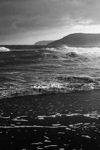 唯美灰色的大海壁