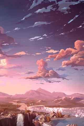动漫风格瀑布唯美手机背景图片