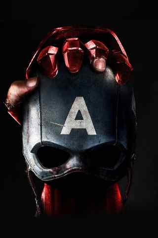 钢铁侠拿着美国队长的头盔海报手机背景下载