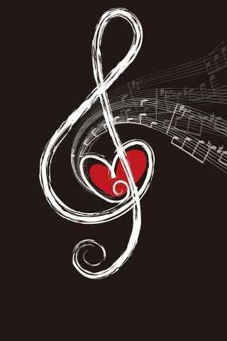 音符演变的爱心符号手机壁纸