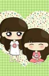 可爱|可爱双子座动漫女孩手机壁纸