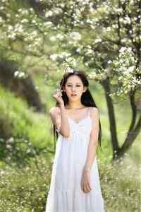 梨花树下的清纯可爱美女唯美写真高清手机壁纸