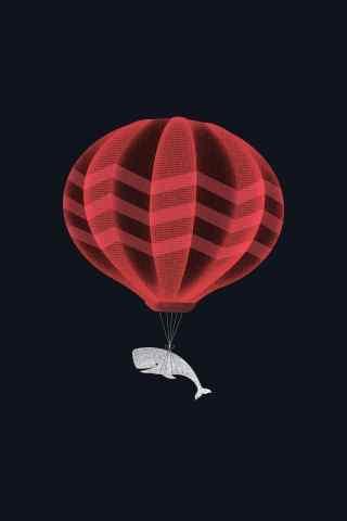 创意卡通坐热气球
