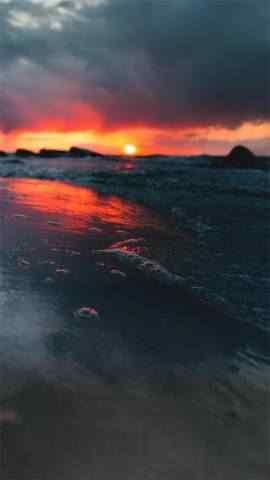 唯美海边日落晚霞风景高清高清手机壁纸