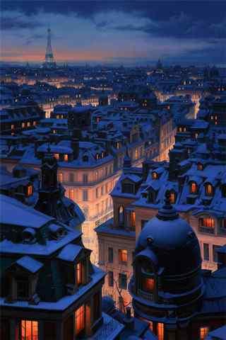 冰冷雨夜城市高清