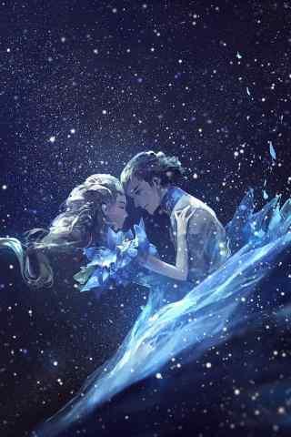 星空下的动漫情侣