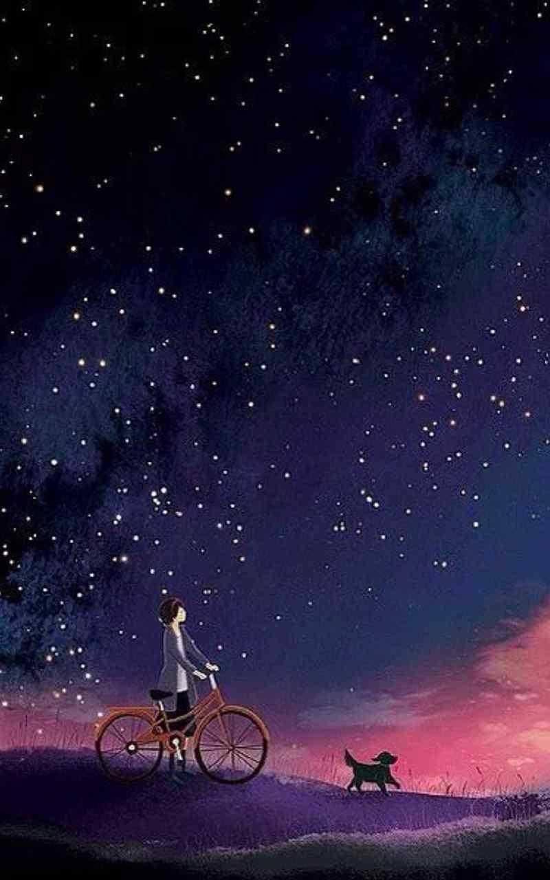 唯美星空晚安图片锁屏壁纸下载