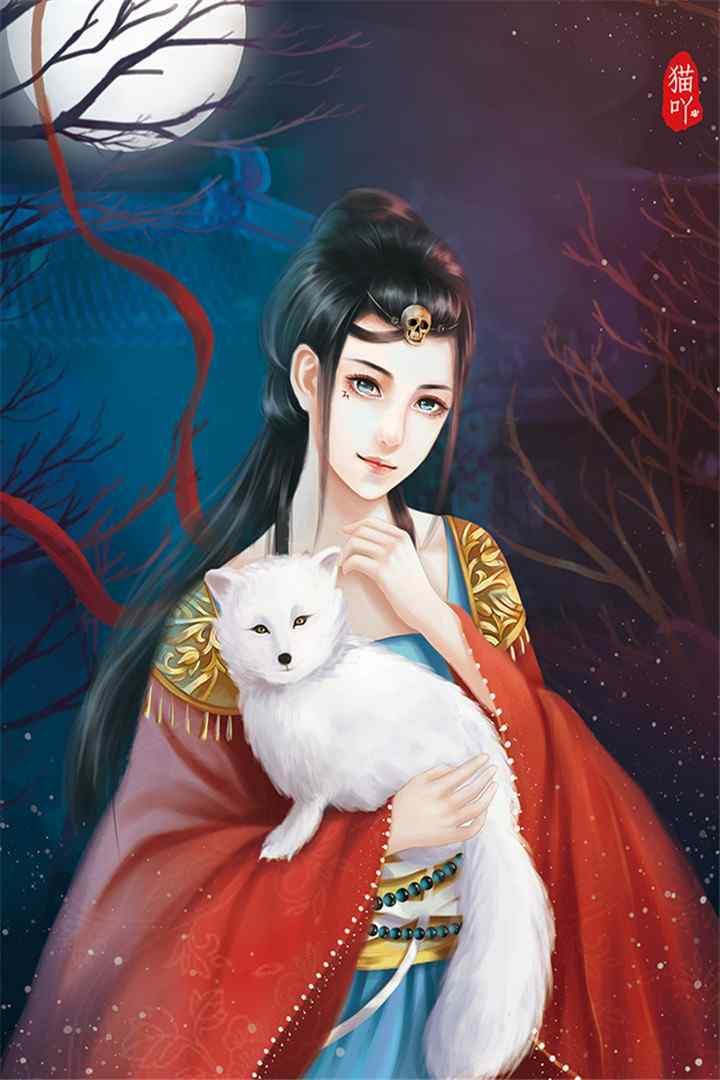 手绘图片古风美女与动物唯美图片高清手机壁纸