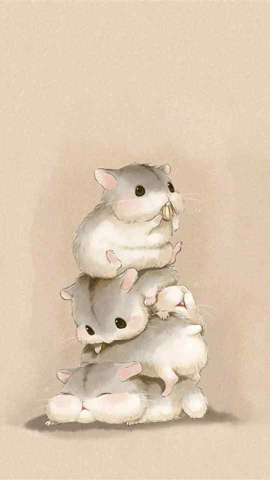 可爱小仓鼠手绘图片高清手机壁纸