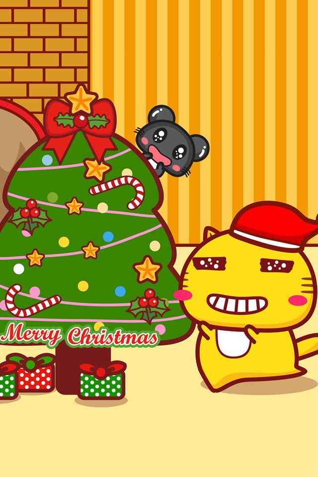 圣诞节卡通可爱手机桌面主题壁纸图片下载(二)