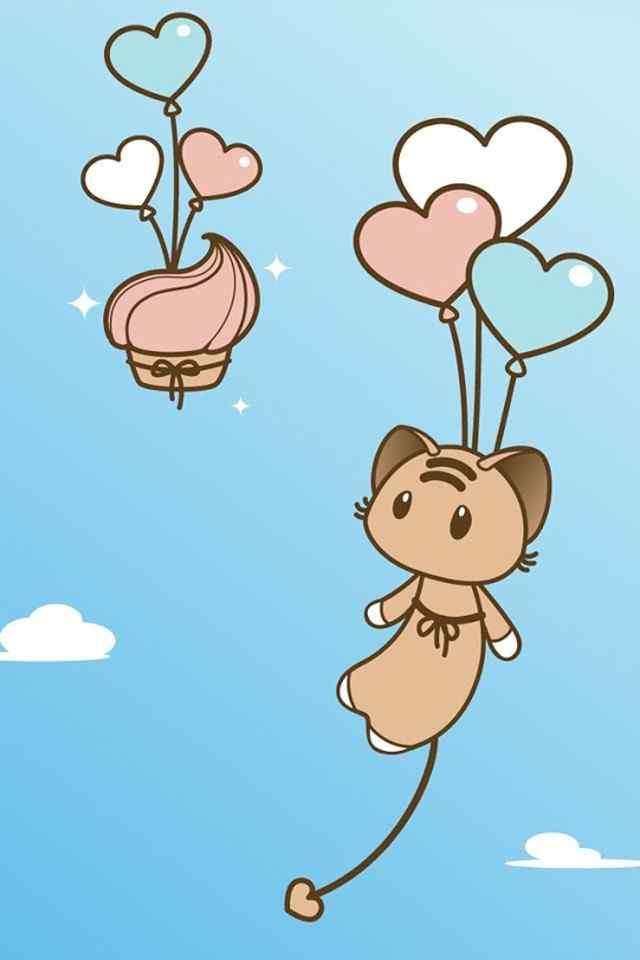 爱呆萌的卡通猫高清手机壁纸