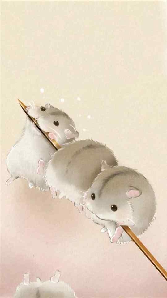 可爱小仓鼠手绘图片高清手机壁纸3
