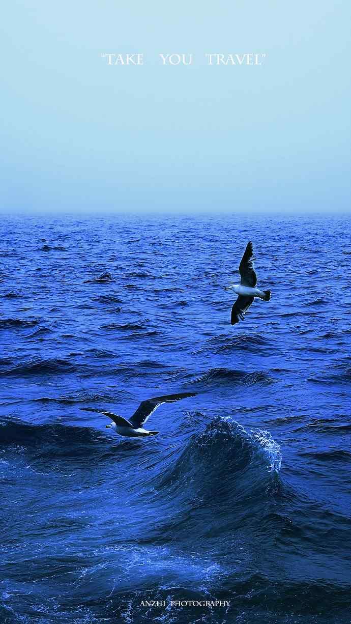 深蓝大海纯粹自然风景高清手机壁纸