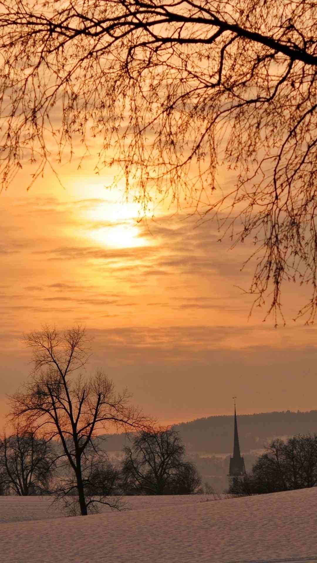 唯美夕阳下的雪景高清手机壁纸