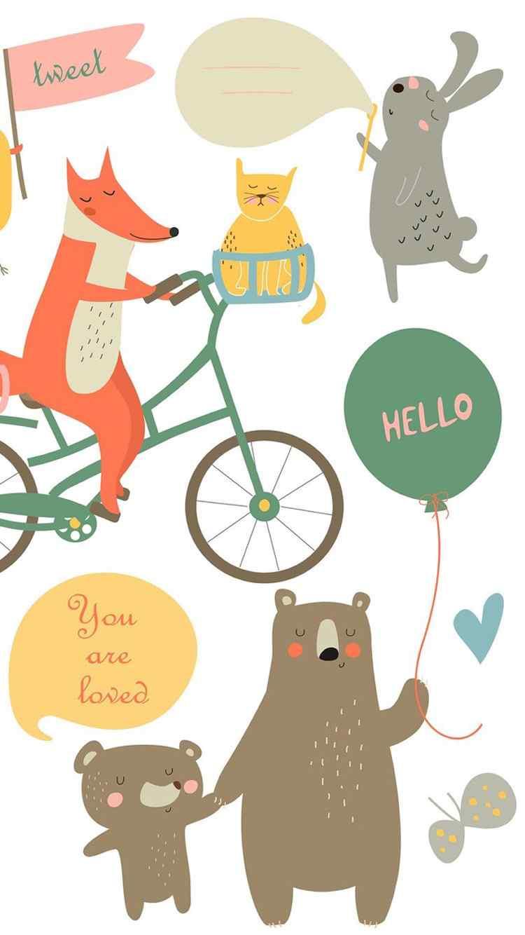 森系动物插画高清手机壁纸