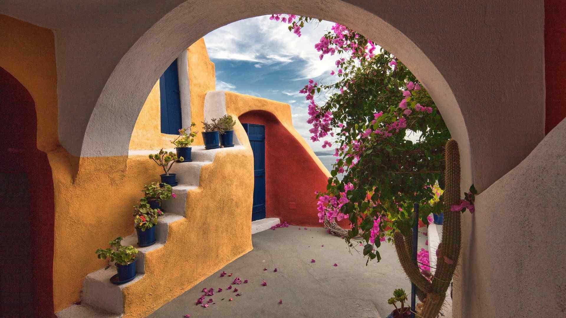 希腊庭院花草独特建筑风格桌面壁纸图片
