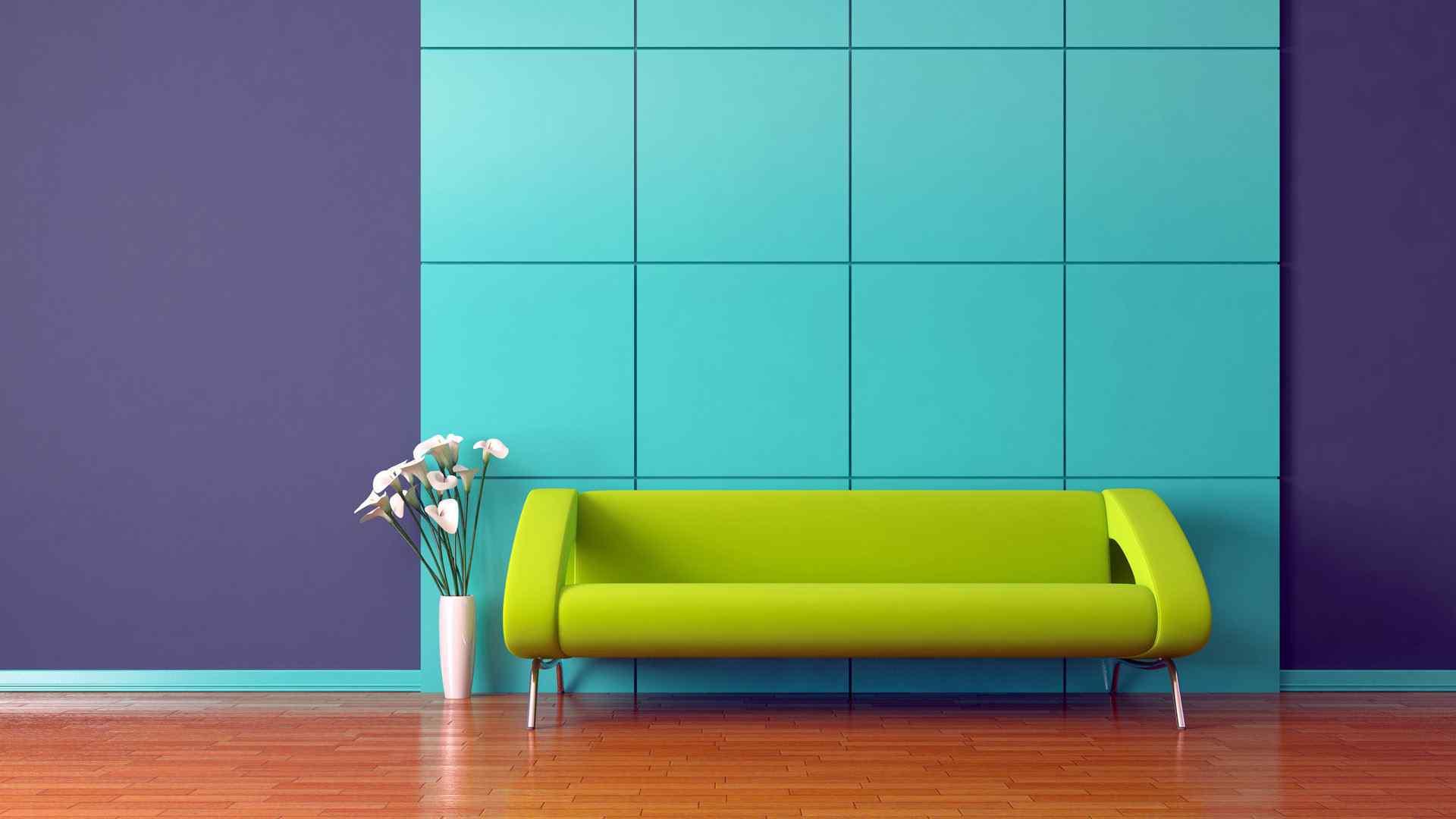 绿色沙发简约家居电脑桌面壁纸