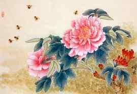 手绘工笔画牡丹花