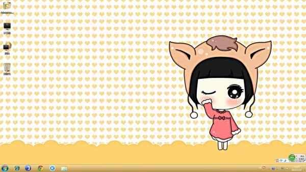 这款卡通win7主题的桌面上很有爱呢,是一个可爱的小女孩,穿着粉色的连衣裙,留着齐刘海,头上戴着一个马头形状的帽子,是不是很可爱呢,背景是可爱的亮黄色,喜欢这款卡通可爱女生图片win7主题的朋友们快来桌面天下下载喜欢的主题吧!