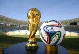 巴西世界杯的足球与大力神杯高清桌面壁纸