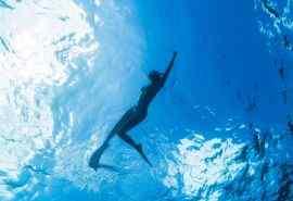 海上游泳的性感女
