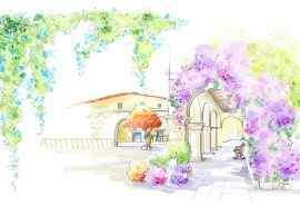 小清新庭院插画高清电脑桌面壁纸
