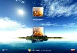 蔚蓝色大海风景XP登录界面