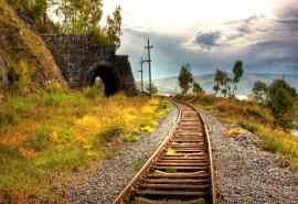 唯美的铁轨风景屏