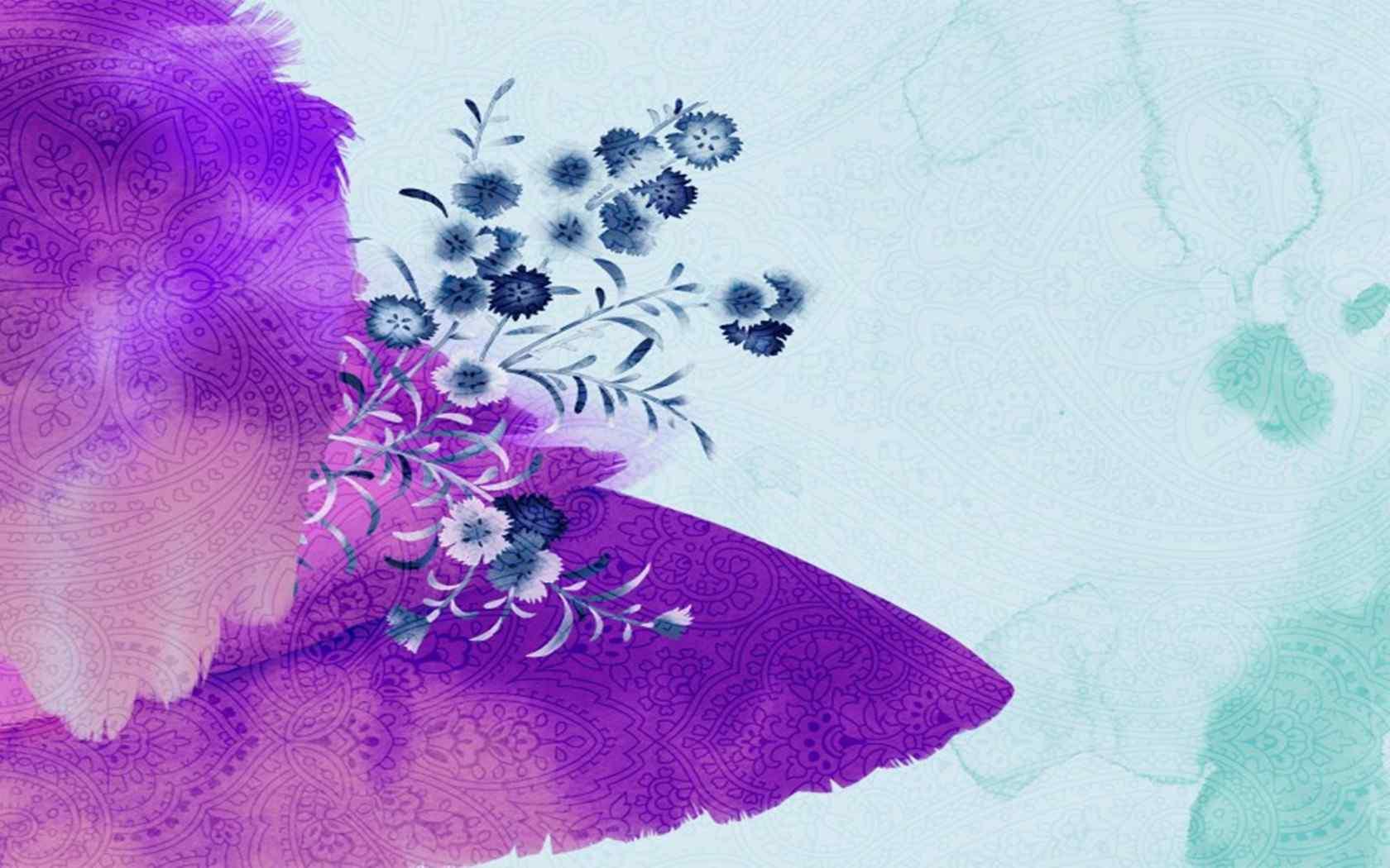 多彩水墨花卉图片电脑桌面壁纸下载