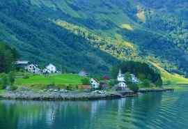 绿水青山挪威纳柔依峡湾风景桌面壁纸