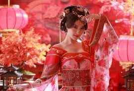 红衣古装风格美女