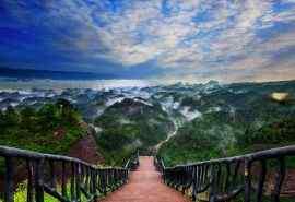 安徽万佛山云海天梯风景桌面壁纸