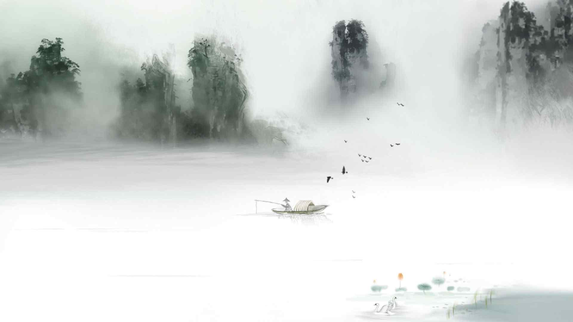清新唯美中国风水墨画电脑壁纸图片