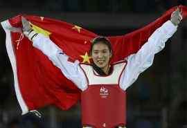 2016里约奥运跆拳道冠军郑姝音比赛图片桌面壁纸