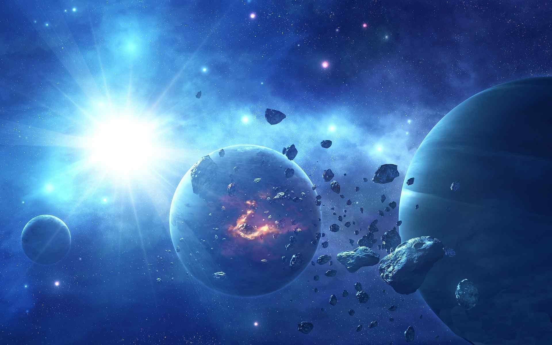 科幻星球陨石坠落高清桌面壁纸下载