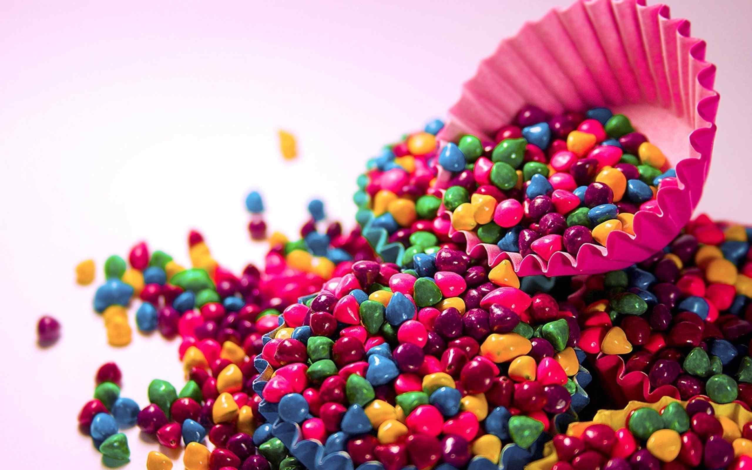 七色彩虹小颗粒糖果桌面壁纸
